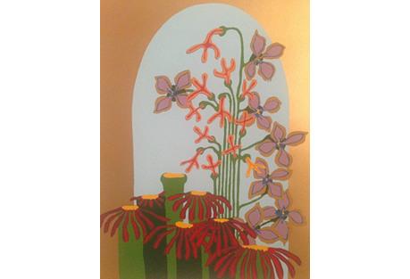 1970s Floral Silkscreen Pat Helmuth