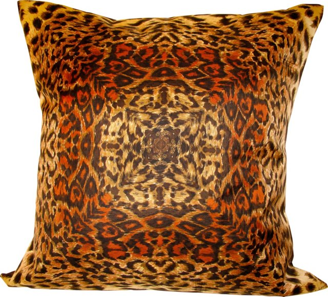 Orange Animal Print Silk Pillow