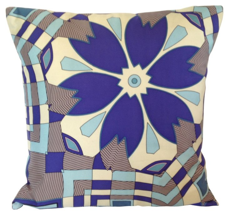 Mod Blue Silk Pillow