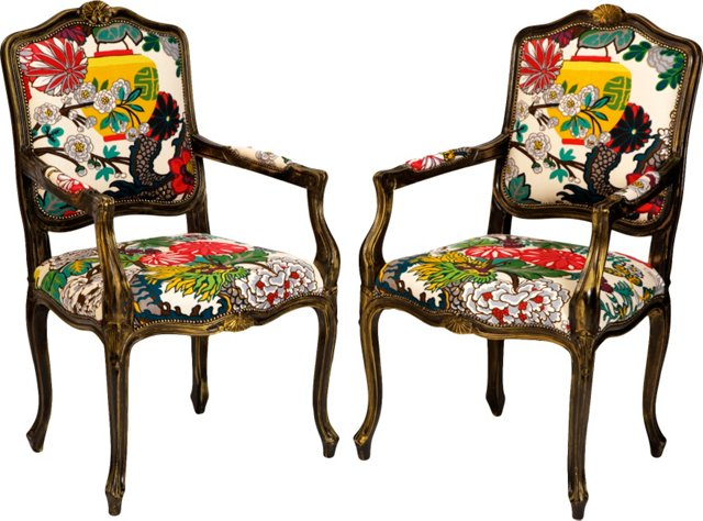 Custom Chiang Mai Dragon Chairs, Pair