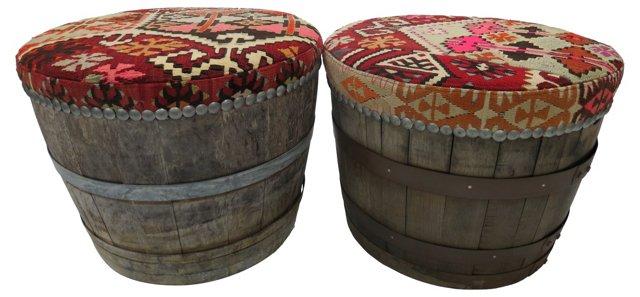 Wine Barrel & Kilim Stools, Pair
