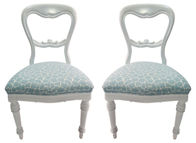 Upholstered Victorian-Style Chairs, Pair