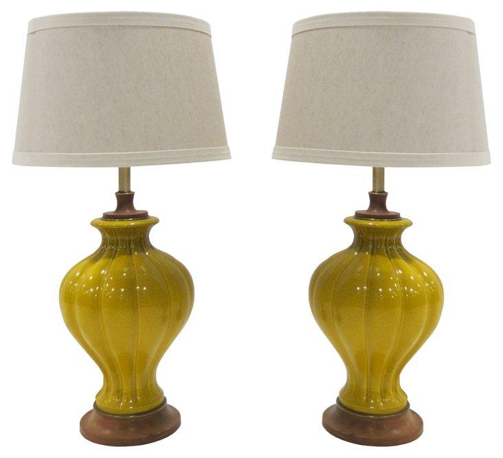 Yellow Ceramic Lamps Pair