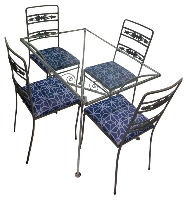 Wrought Iron Bistro Table & 4 Chairs