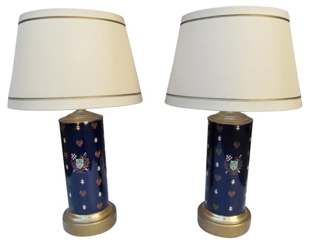 1940s French Heraldic Lamps, Pair