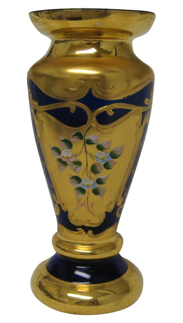 Gold & Cobalt Bohemian Vase