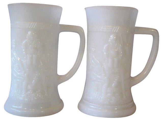 Milk Glass Steins, Pair
