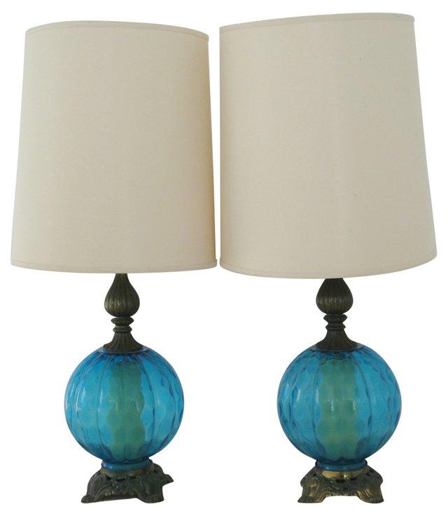 Midcentury Blue Lamps, Pair