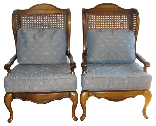 Caned  Wingback Chairs, Pair