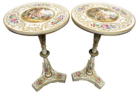 French Hand-Painted Tables, Pair