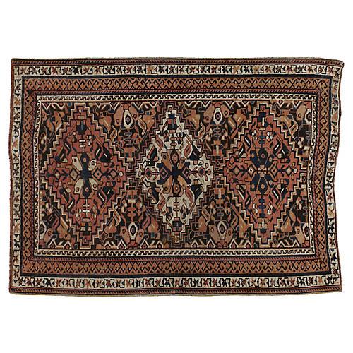 "Antique Persian Afshar Rug, 4'2"" x 5'7"""