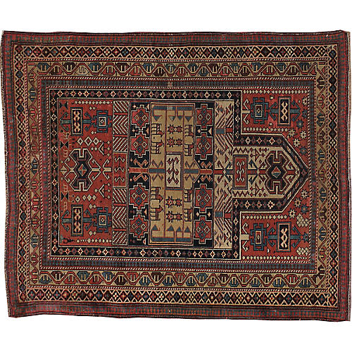 "Antique Shirvan Rug, 4'1"" x 4'10"""