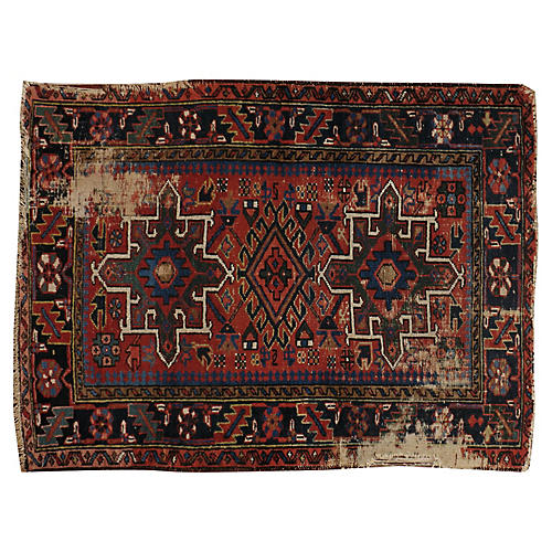 "Distressed Persian Rug, 3'3"" x 4'3"""
