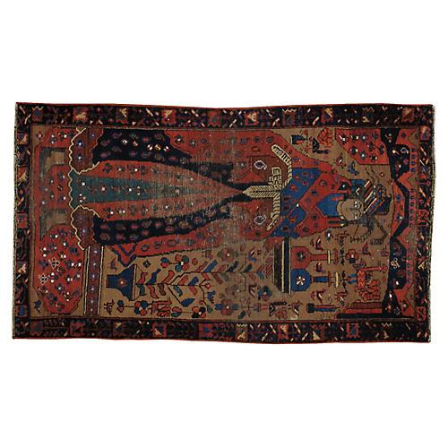 "Distressed Persian Rug, 3' x 5'3"""