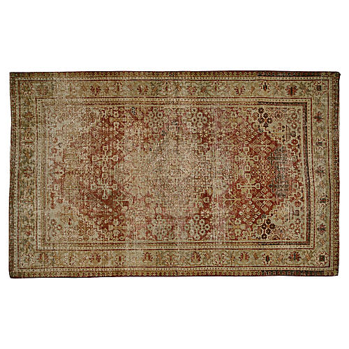 "Distressed Persian Rug, 4' x 5'6"""