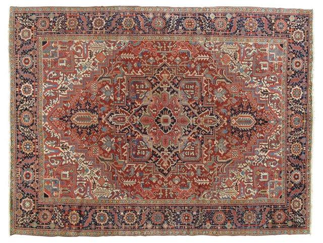 """Antique Heriz Carpet, 9'4"""" x 12'4"""""""