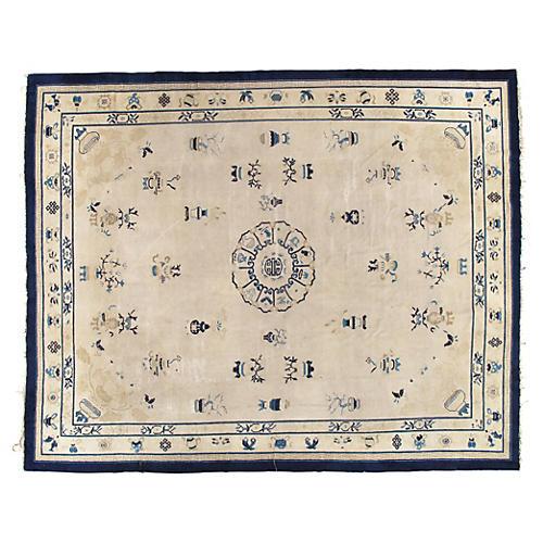 "Antique Chinese Carpet, 9' x 11'3"""