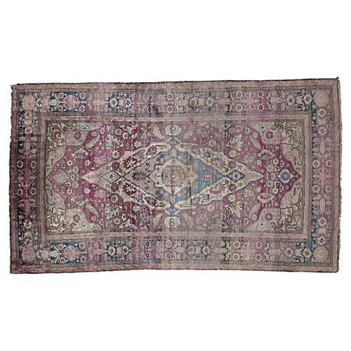 """Antique Silk Kashan Rug, 3'8"""" x 6'5"""""""
