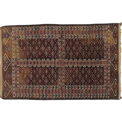 """Antique Turkmen Rug, 4' x 6'8"""""""