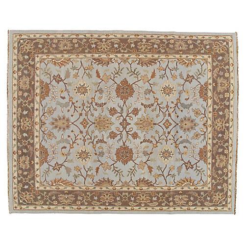 Braided Light Blue Oushak Carpet 8' x 10