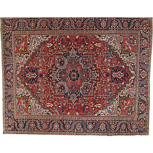 """Antique Heriz Carpet, 10' x 12'3"""""""