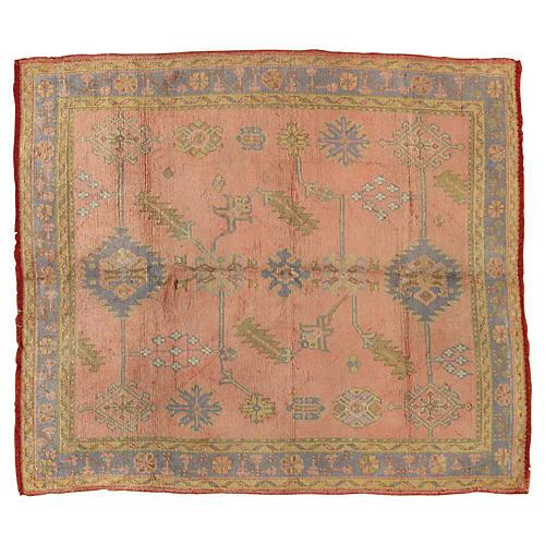 """Antique Oushak Rug, 6' x 6'6"""""""