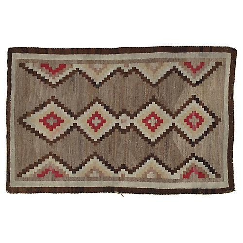 """Antique Navajo-Style Rug, 2'8"""" x 4'3"""""""