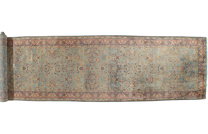 Antique Persian Mahal Runner, 4' x 19'
