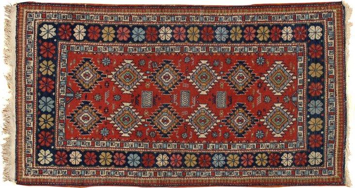 """Antique Caucasian Rug, 2'7"""" x 4'7"""""""