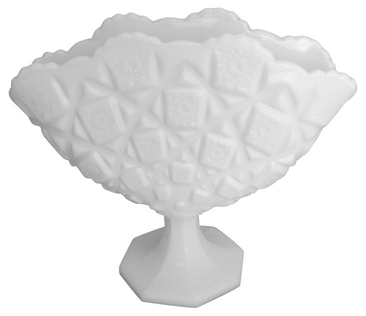 Quilted Fan Milk Glass Vase