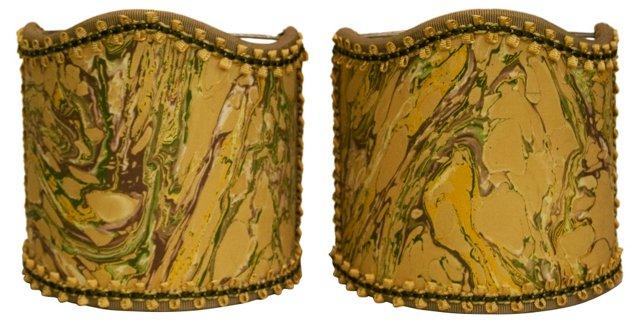 Mustard Marble Shields, Pair