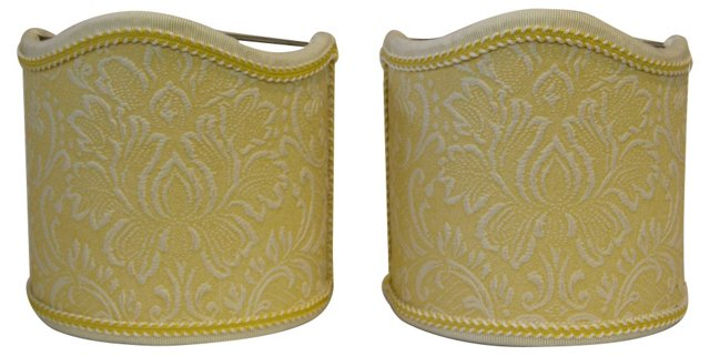 Yellow Floral Embossed Shields, Pair