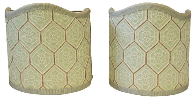 Green Bee Hive Shields, Pair