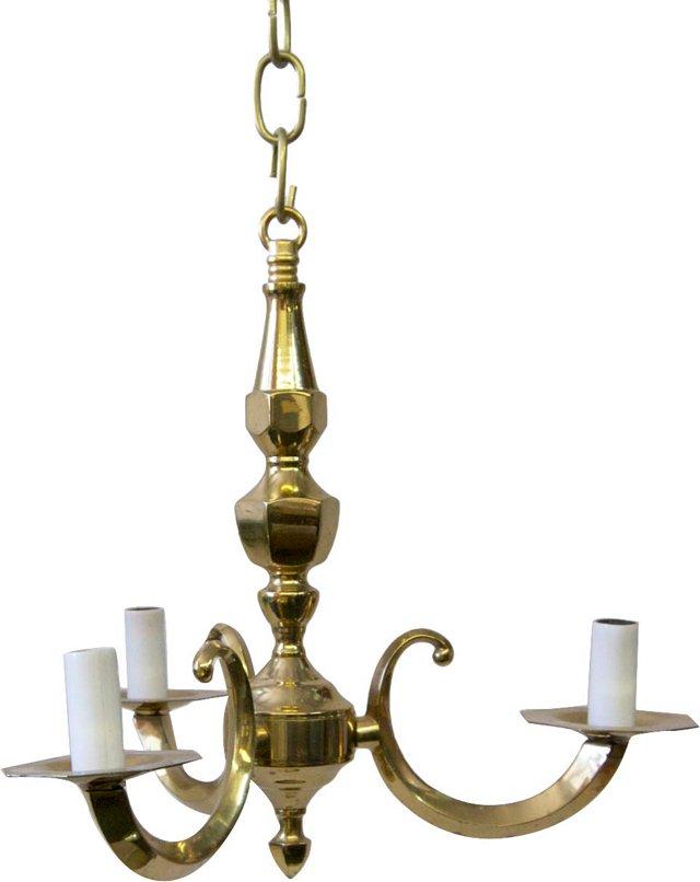Petite 3-Arm Brass Chandelier
