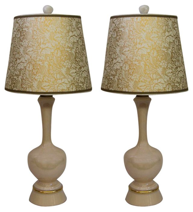 Peach Iridescent Lamps, Pair