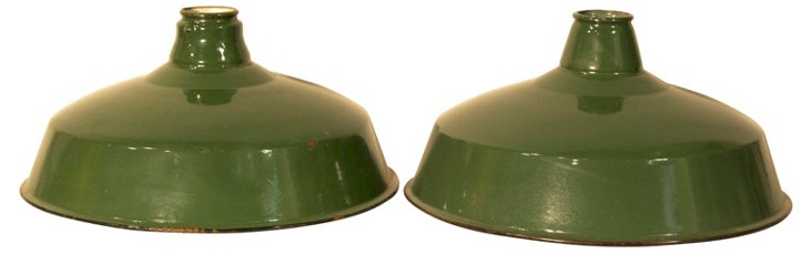 Green Enamel Pendant Shades, Pair