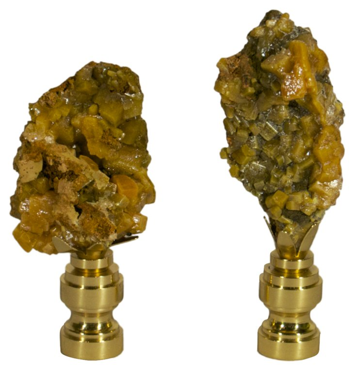 Wulfenite Crystal Finials, Pair