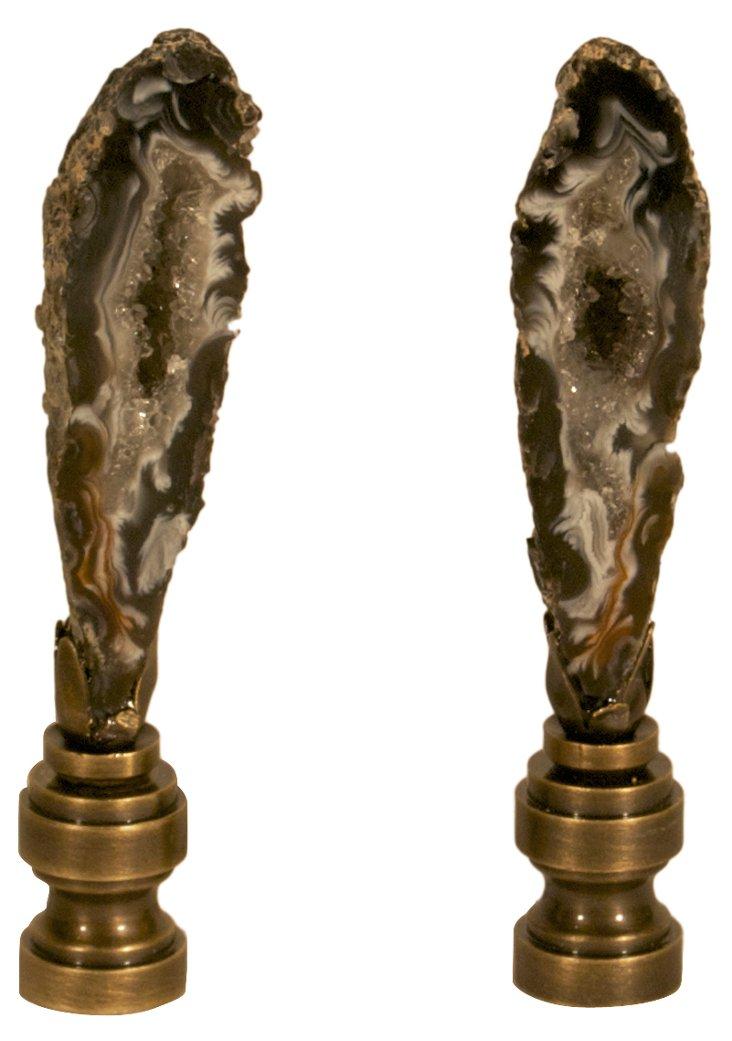 Black Tall Druzy Geode Finials, Pair