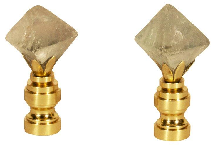 Fluorite Octahedron  Finials,   Pair