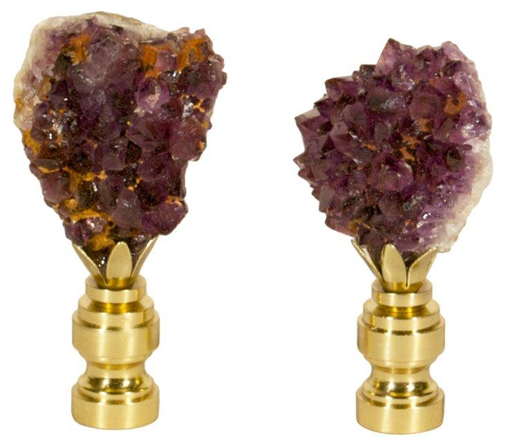Amethyst Crystal Finials,   Pair
