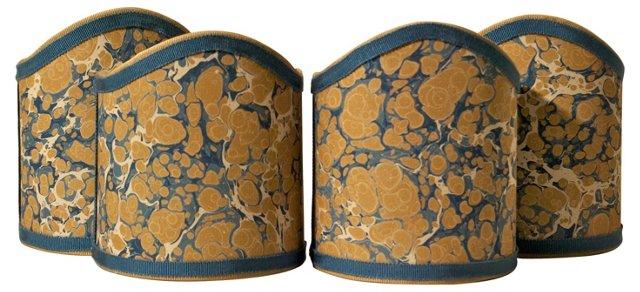 Blue & Tan Marble Shield Shades, S/4