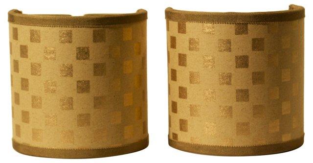 Gold Square Shield   Shades, Pair