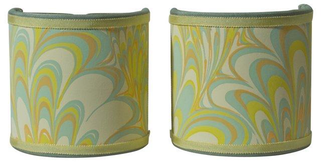 Yellow Swirl Shield Shades, Pair