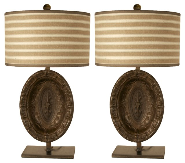 19th-C.  Architectural  Lamps, Pair