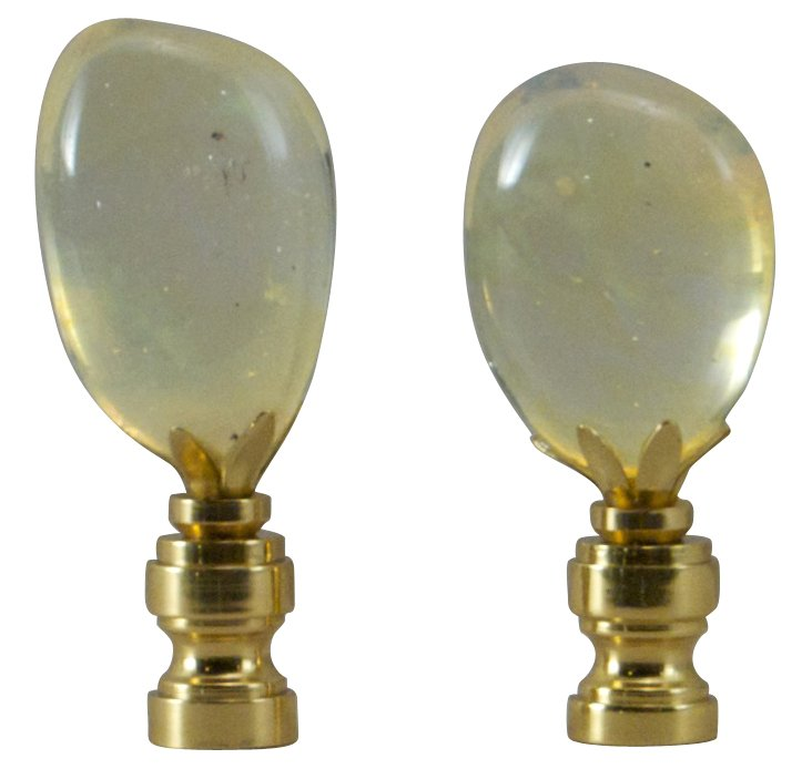 Volcanic    Glass Finials, Pair