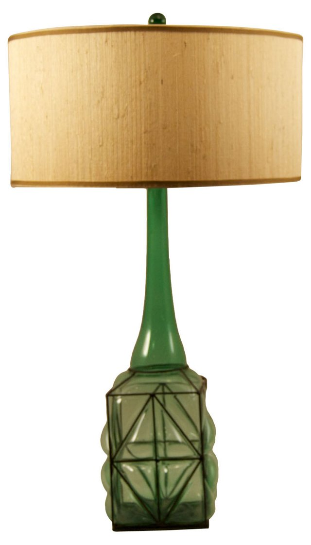 Green Caged Glass Bottle Lamp