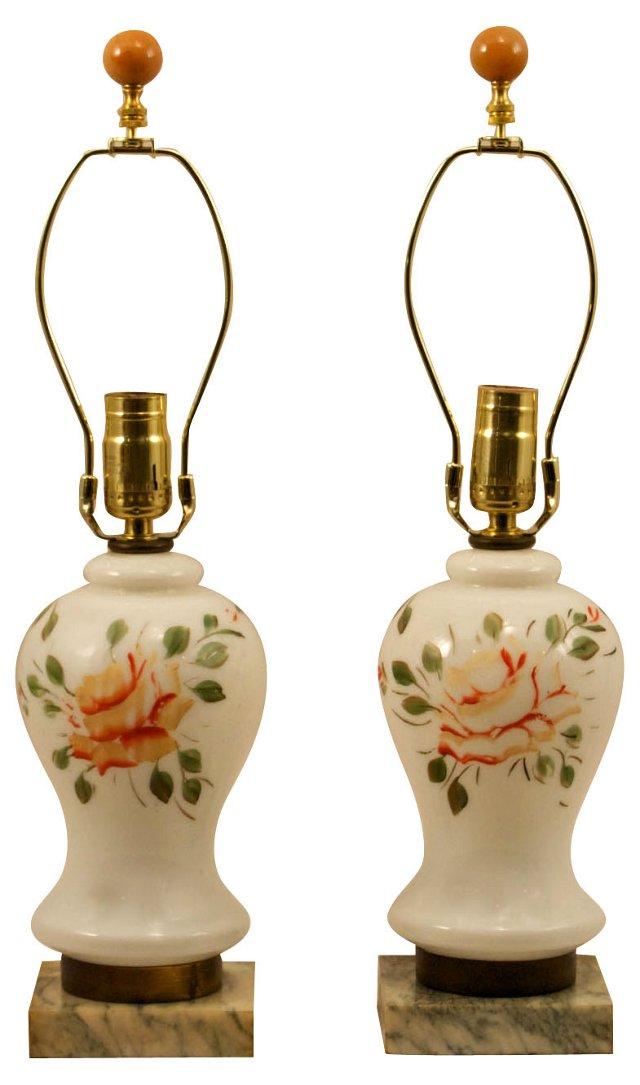 Painted Milk Glass Lamps, Pair
