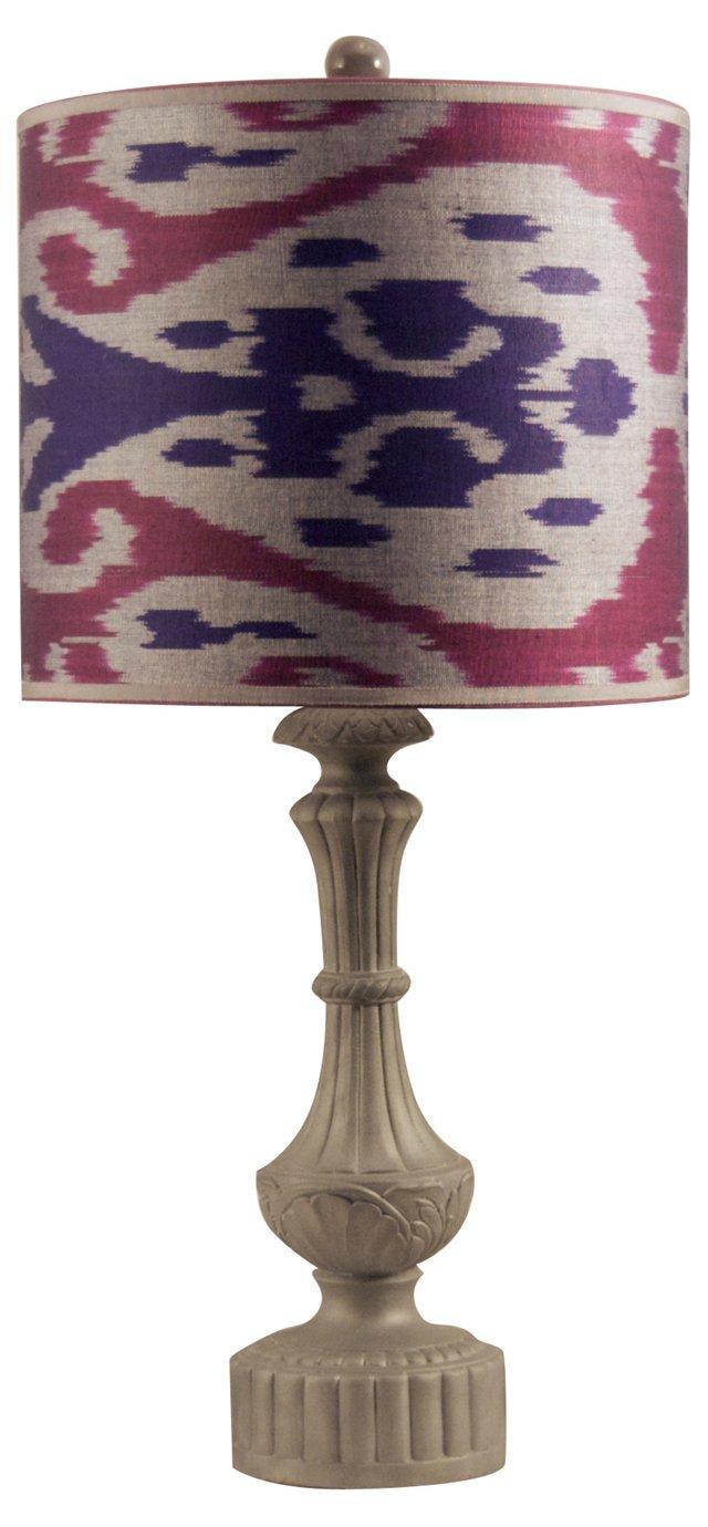Metal Column Lamp & Ikat Shade