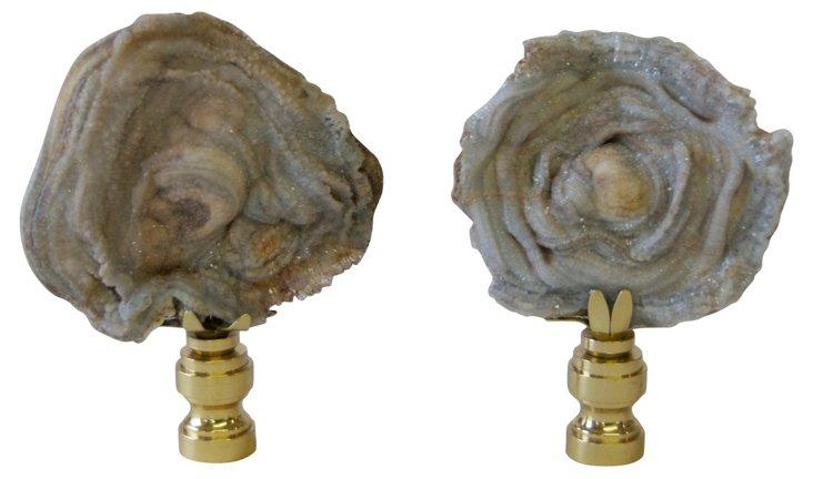 Chalcedony  Rose Quartz Finials,  Pair