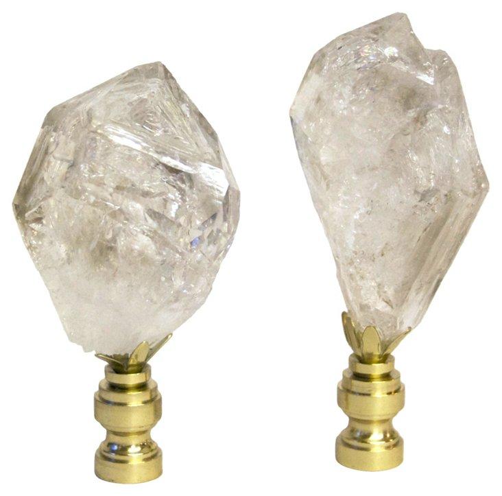 Fenster Crystal Finials,   Pair